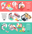 isometric e-commerce banners set vector image vector image
