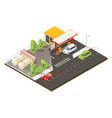 isometric petrol fuel station concept vector image vector image