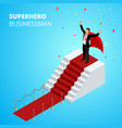 isometric super hero businessman on the podium vector image vector image