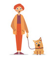 man is walking with a dog vector image vector image