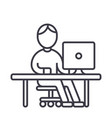 man working at computer at table line icon vector image