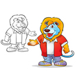 mascot cute lion cartoon vector image vector image