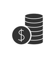 pile with coins black icon vector image vector image