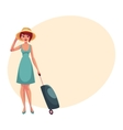 Pretty woman in blue dress with suitcase vector image vector image