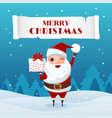 santa claus holding gift box in snowy scene vector image vector image