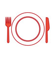 set kitchen cutlery with dish vector image vector image