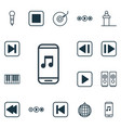 set of 16 multimedia icons includes song ui vector image vector image