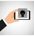 smartphone in hand with idea bulb vector image vector image