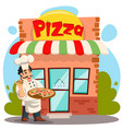 smiling cook chef serving pizza pizzeria shop vector image