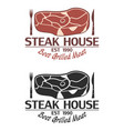 steak house logo with meat knife and fork vector image vector image