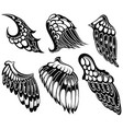 tattoo wings set vector image vector image