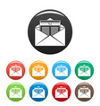 tax mail icons set color vector image vector image
