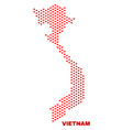 vietnam map - mosaic of love hearts vector image vector image