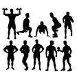 weightlifting and fitness activity silhouettes vector image vector image