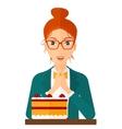 Woman looking at cake vector image vector image