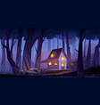wooden mystic stilt house shack in night forest vector image
