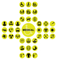 Yellow Medical and health care Icon collection vector image vector image
