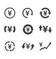 yen exchange icon set currency convert finance vector image vector image