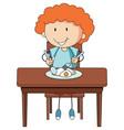 a boy having breakfast doodle cartoon character vector image vector image
