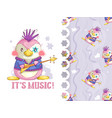 adorable rocker penguin and background pattern vector image vector image