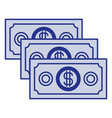 blue silhouette of money bills set vector image vector image