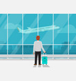 businessman with luggage in airport vector image vector image