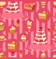 cake seamless pattern cute various vector image vector image