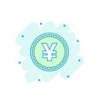 cartoon yen yuan money currency icon in comic vector image