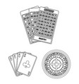 casino and gambling outline icons in set vector image vector image