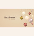 christmas hanging bauble balls on ribbon with vector image