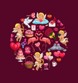 circle valentines day gifts love heart cupids vector image vector image