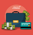 colorful poster with profit money briefcase and vector image