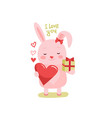 cute cartoon lovely rabbit with pink large heart vector image