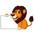 cute lion cartoon with blank sign vector image vector image