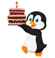Cute penguin cartoon holding birthday cake vector image vector image