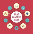 flat icons restroom van excavator and other vector image vector image
