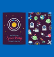 flat space icons party invitation template vector image vector image