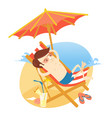 funny man sunbathing on the beach with cocktail vector image