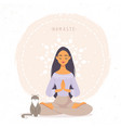 girl with cat namaste vector image vector image
