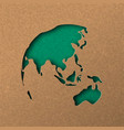green papercut world map with australia and asia vector image vector image