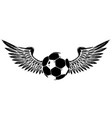 grunge image with winged soccer ball black vector image vector image