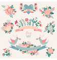 Hand drawn floral collection with design elements vector image vector image