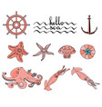hello sea set of various sea creatures icons vector image