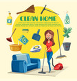 house or room cleaning poster vector image