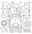 i love you coloring page of vector image vector image