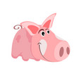 image of a cartoon pink pig the symbol of the vector image