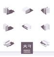 isometric korean alphabet letter khand ch in white vector image vector image