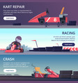 karting cars banners with sport pictures speed vector image vector image