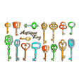 key in different form and material ink color set vector image vector image