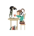 Little girl sitting at computer and drinking vector image